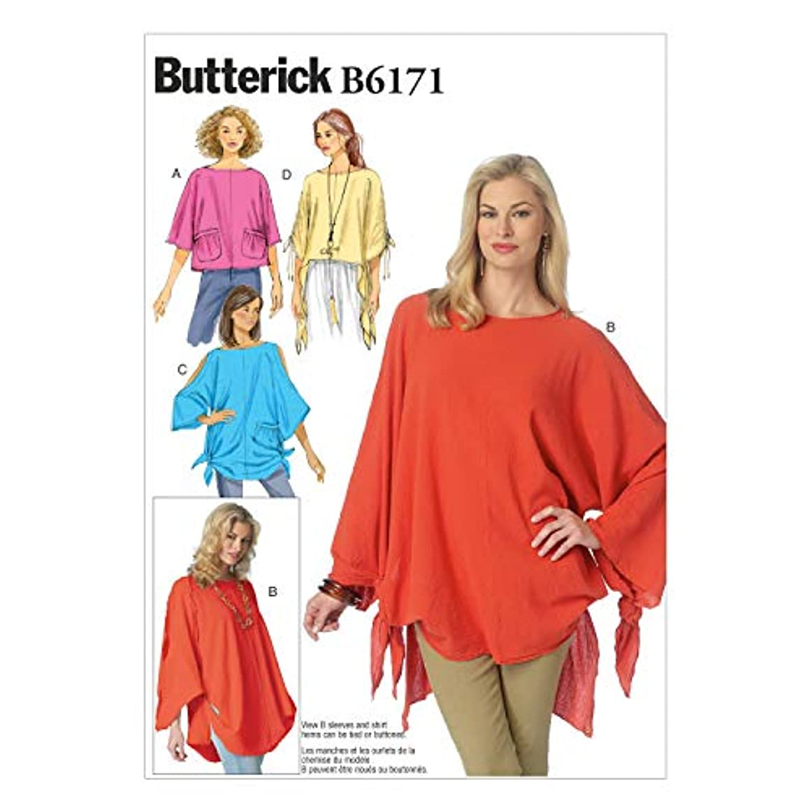 BUTTERICK PATTERNS B6171ZZ0 Misses' Tunic Sewing Template, ZZ (LRG-XLG-XXL)