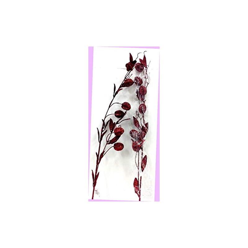 "silk flower arrangements artificial set of 2 weeping pod spray stem red glitter 36"" tall artificial flowers bouquet realistic flower arrangements craft art decor plant for party home wedding decoration"