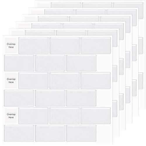 MORCART 10 Stück Fliesenaufkleber Selbstklebende Fliesendekor Aufkleber Backstein Mosaik Wallpaper 3D Aufkleber Küchenschränke Badezimmer Kamin Bodentreppe Abnehmbar Wasserdicht für Küche und Bad