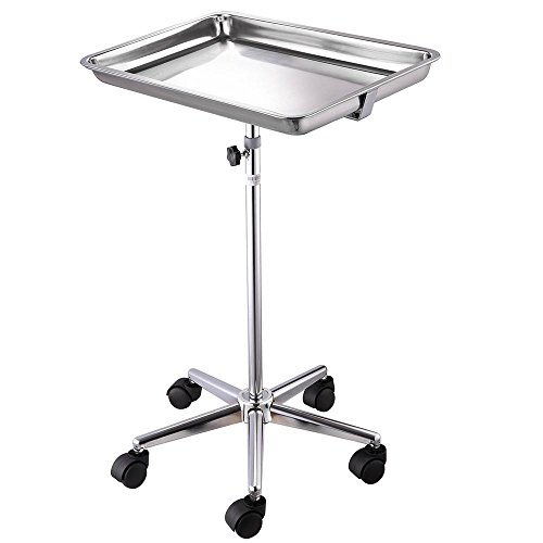 AW Mobile Mayo Tray Stand Stainless Steel 19x13x2 Trolley Adjustable Height Medical Doctor Salon Equipment