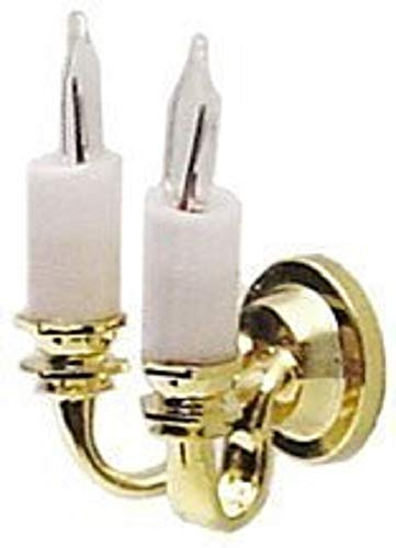 Melody Jane Maison de Poupées Miniature 1:24 Échelle Éclairage Cir-Kit Double Bougie Lampe Murale Applique