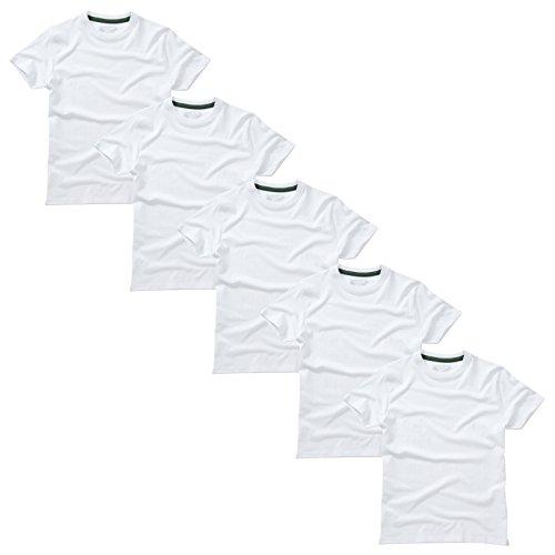 Charles Wilson 5er Packung Einfarbige T-Shirts mit Rundhalsausschnitt (3X-Large, Plain White)