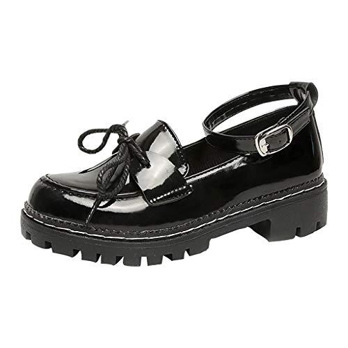 Damen Lederschuhe Einfarbig EIN Wort Schnalle Runder Kopf Niedriges Quadrat Einzelne Schuhe College-Stil Kleine Lederschuhe