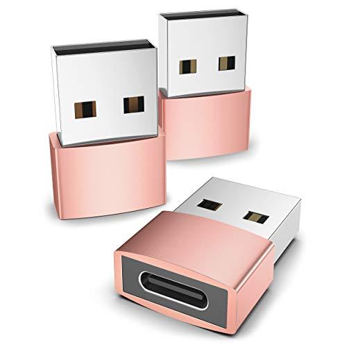 Syntech Adaptador USB C Hembra a USB Macho (3 Unidades), convertidor Tipo C a USB A, Compatible con Ordenadores portátiles Oro Rosa
