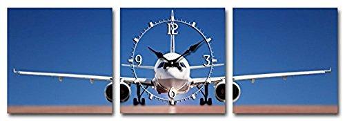 Tinas Collection 3tlg Wanduhren Set, Uhr + Zwei Bilder mit dem Motiv -Flugzeug-