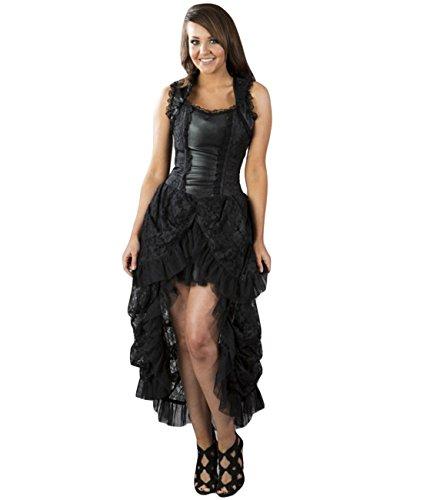 Burleska Damen Korsett Kleid - Isabella Brocade Schwarz Dress Viktorianisch 40