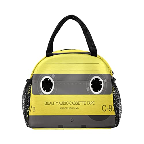 Bolsa de almuerzo para mujeres y hombres, cintas de audio retro con aislamiento musical reutilizable para el almuerzo, bolsa térmica para el trabajo, picnic, senderismo