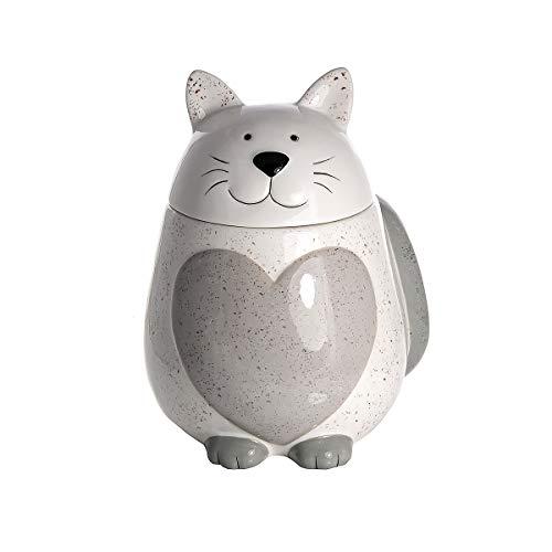 Keramik Vorratsdose mit Deckel, Küche Aufbewahrungsbehälter (Luftdicht) Katze und Herzform (Weiß) - Geschenk für Katzenliebhaber Katzenfreunde