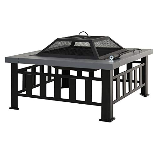 Outsunny Metal Fire Pit Outdoor Garden Patio Backyard Square Stove Wood Burning Heater Fire Pit Brazier w/Rain Cover