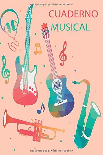 Cuaderno Musical: Cuaderno con 5 estilos para varias materias, líneas, cuadros, pentagramas, dibujo y caligrafía, ideal para todo tipo de estudiantes, portada con diseño musical/6x9/120 páginas.