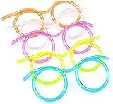 CHENKEE 10 pz Bricolaje Diseño De Gafas Pajita de Diseno de Gafas de Novedad Cumpleanos fiesta Divertido con Paja Gafas con Pajita Para Beber Divertidas Fiestas De Cumpleaños