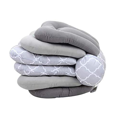 Baby Nursing Pillow Adjustable Breastfeeding Pillow Remove Height Baby Protection Support Cushion for Outdoor Anti-Spitting Milk (Gray)