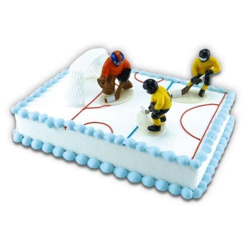 COXIMUS backen und mehr Tortendekoration Eishockey mit drei Spielern und Tor | Tortendeko Kindergeburtstag und Geburtstag | Motivtorte Eishockey