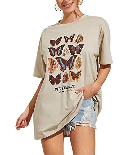 Meladyan Women's Butterfly Printed Graphic Loose Tee Short Sleeve Round Neck Loose Tshirt Tops (X-Large, Apricot)
