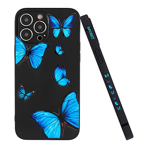 SPOBIT Compatible with iPhone 13 Pro Max Case, Cute Fun Butterfly Back Cover, Soft TPU Silicone Shockproof Lens Camera Protection Creative Side Pattern Case for iPhone 13 Pro Max - Black