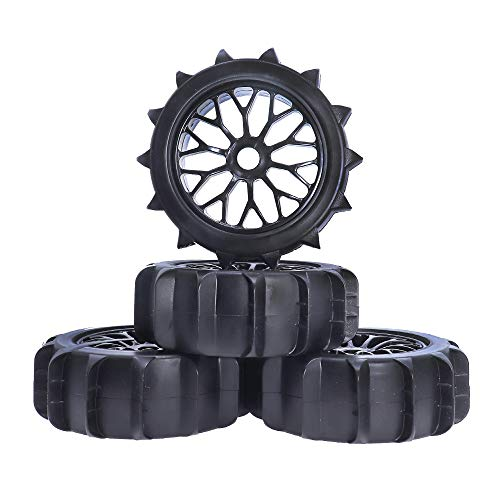 REhobby 4PCS 1/8 Scale 4.92Inch Tire Rim RC Crawler Off Road Buggy Snow Sand Paddle Wheels Tires for...