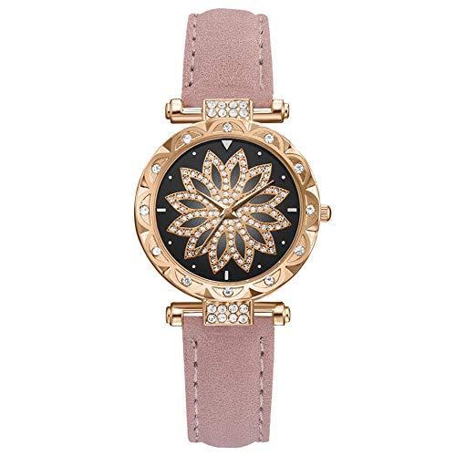 Powzz - Reloj de pulsera inteligente con correa de piel sintética, color rosa