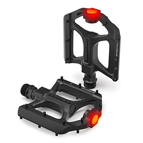 luckything Bicycle pedals, mountain bike, road bike, bicycle pedals, MTB pedals with warning LED light metal, non-slip pedals and sealed bearings, non-slip trekking pedals