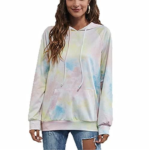 ZFQQ suéter de Manga Larga con Capucha Suelta Multicolor con teñido Anudado Casual de otoño para Mujer