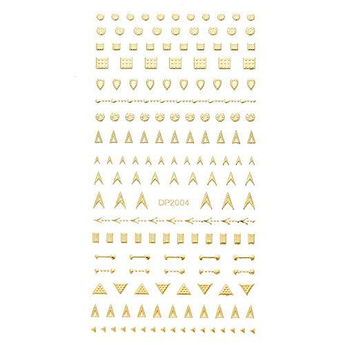 Clavo de oro 3D Etiqueta Líneas RAYA geométrica del corazón auto adhesivo del arte del clavo de transferencia Pegatinas Decoraciones 11.5 * 6cm (Color : Pattern 4)