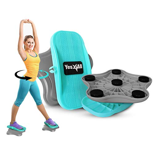 Yes4All Cardio Twister, Waist Twisting Disc, Ab Twister Board, Twist Disc Exercise | Workout Equipment Fitness Cardio Exercise (Gray/Teal)