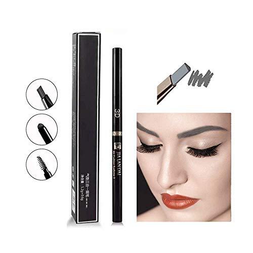 3-in-1-Augenbrauenstift, automatischer Augenbrauenstift mit zwei Köpfen, wasserdichtes und schweißfestes Make-up (Grey)