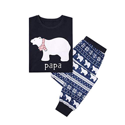 WEIMEITE NaviPapá Pijamas Oso Trajes A Juego Familiar Conjunto Hombres Mujeres Niños Ropa Conjunto Niños Ropa de Bebé Pijamas Ropa de Dormir Ropa de Dormir Papá XL