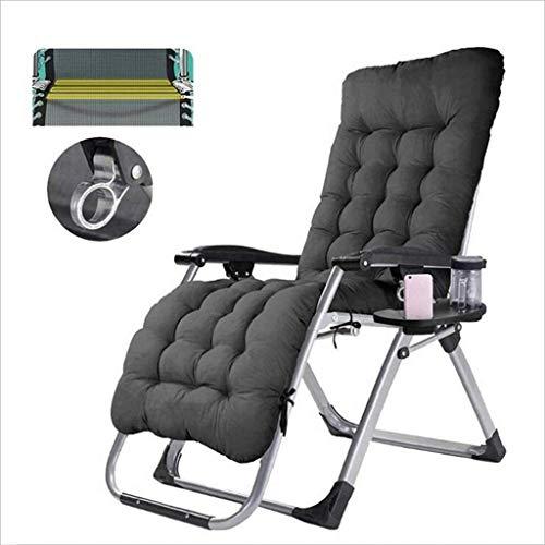 Feldbett Chanshimian Außen Lehnstühle mit einem Klappstuhl Kopfstütze, Sitz und Becherhaltern, 90-160 Grad verstellbare Liege-, Garten Terrasse Liegestuhl, Farbe: braun (Color : Black)