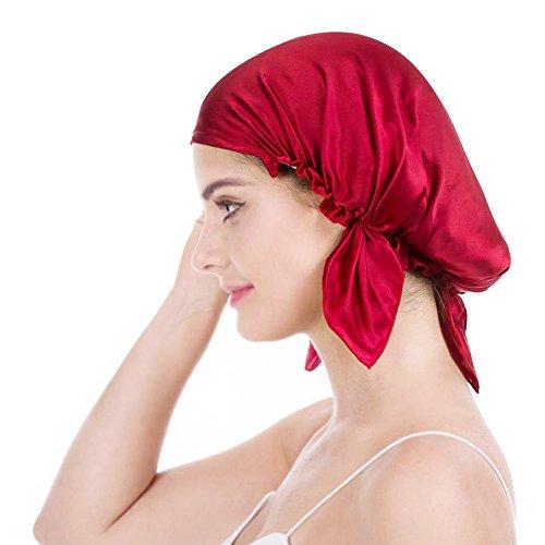 Emmet 100{b28a686741cdf8cf738cbec2ebffa4693ce9276360e0d2906e8b37359c46f6d3} Seide Schlafmütze Haarschönheit Nachtmütze Damen für Haarverlust Atmungsaktive Kappe,Rot,Einheitsgröße
