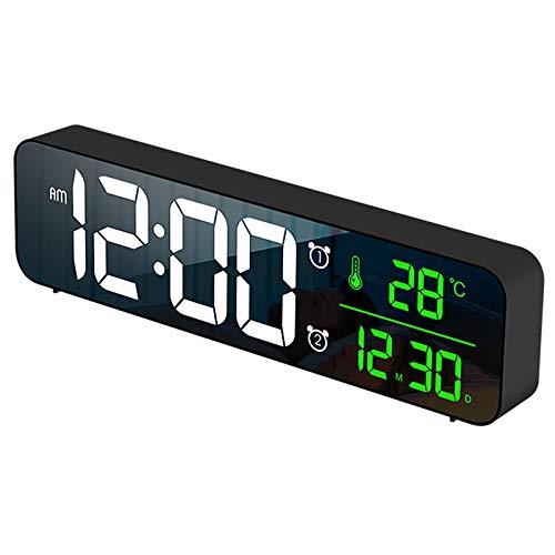 Cobeky Reloj despertador digital, detección de temperatura, 40 tonos de alarma, volumen y brillo ajustable, reloj despertador para dormitorios negro