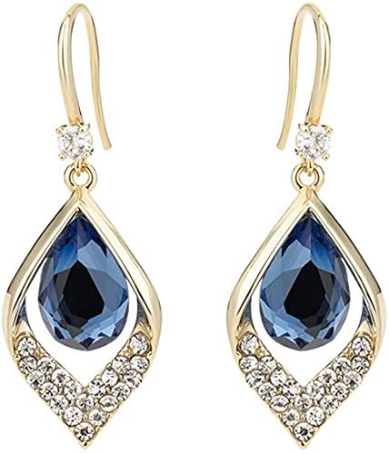 Pendientes de gota de diamante para mujer, con piedra lunar azul, chapados en oro, hipoalergénicos, para mujeres y niñas, fiesta de cumpleaños, pendientes de plata (1 par)
