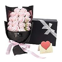 ソープフラワー AlfaView 花束 ギフト バラ ユリ 枯れない花 お祝い 結婚祝い プロポーズ プレゼント 結婚記念日 バレンタインデー 誕生日祝い 母の日 敬老の日 カード付き(18本) (ピンク)