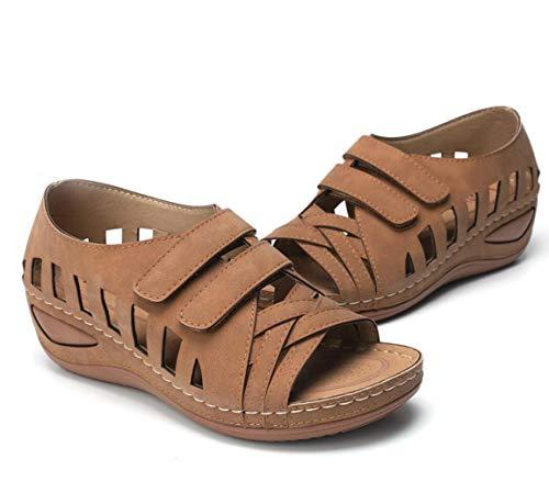 ZYLL Prima Ortopédica Ronda del Dedo del pie Sandalias, Sandalia de la cuña cómodo Cruz ventilación, pío del Dedo del pie de la Vendimia Pisos,C,40