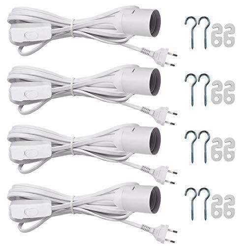 E27 Lampenfassung mit kabel und schalter E27 Fassung Weiß mit 2.5m für Lampenschirm Papier Leuchten Stern Lampen Weiß (4 Stück)