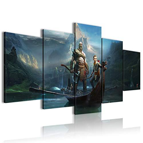 CNLB Cuadro impreso HD 5 PanelGod of battle Chasers Nightwar decoración de dormitorio 150x80cm enmarcado