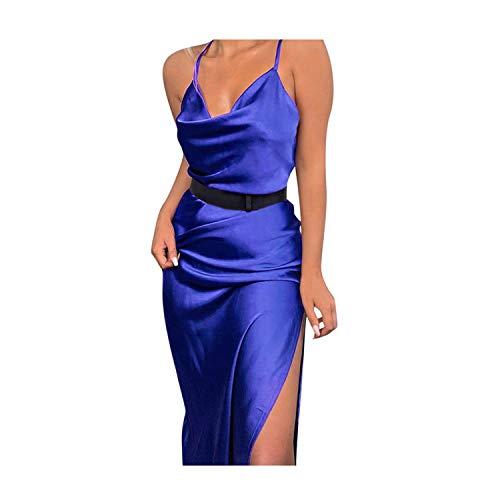 Sannysis Kleid Damen Elegante Spaghetti Träger Partykleid Ärmellos Minikleid Schulterfrei Lose Clubwear Sexy Negligee Satin Nachtkleid Sommer V-Ausschnitt Kleider (M, Blau)