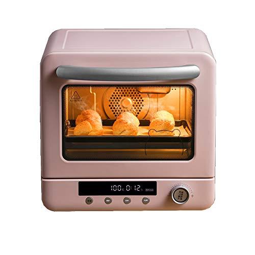 Digitale Ofen, Auftauprogramme Kindersicherung Energiesparmodus Glasdrehteller Edelstahl Automatische Anzeige Garzustands, 20 l, 1300 W, pink