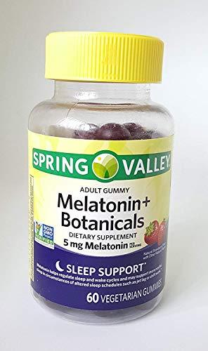 Spring Valley Adult Gummy Melatonin+Botanicals Dietary Supplement, 5mg, 60 Vegetarian Gummies, Non GMO Verified