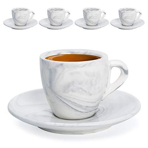 Hausmann & Söhne Espresso Tassen dickwandig | Set 8-TLG | 4er Set Pastell graue Marmor Tassen mit Untertassen | Porzellan | Tasse 80ml | Espresso Tassen Set mit Untersetzer | Geschenkidee