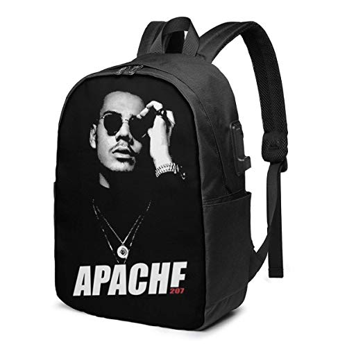 Hdadwy Apache 207 Merch USB School Backpack Large Capacity Canvas Satchel Casual Travel Daypack for Adult Teen Women Men 17in