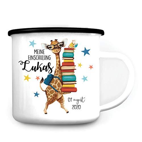 Wandtattoo Loft Kindertasse Emaille Tasse Campingbecher Giraffe Bücher Einschulung Geschenk Schulanfang Wunschname / 2. schwarzer Becherrand