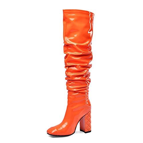 MKXF Talon Haut Talon Bloc Femmes Bout carré Haut Bottes,Orange,44