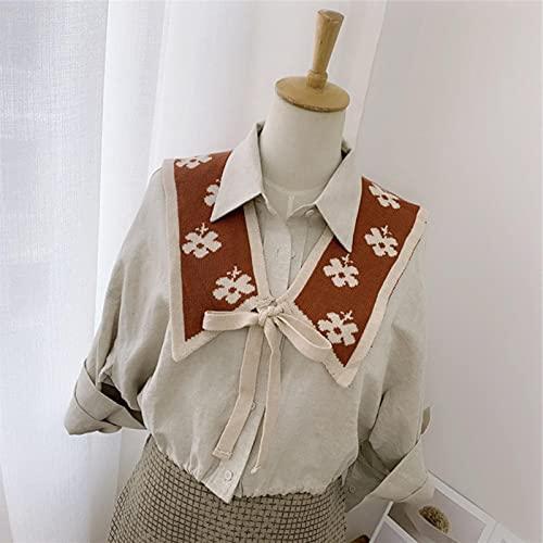 HJCSMM Cuello Falso para Mujer Camisa de Cuello Falso de Punto de Color sólido Collares Desmontables Solapa Mantón Envoltura de Hombro Decoración