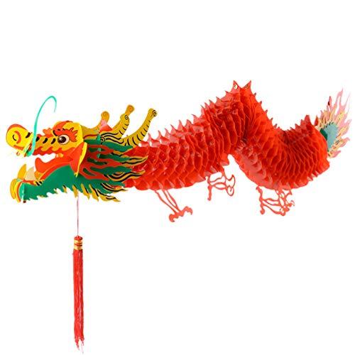 LIOOBO Año Nuevo Chino Papel dragón decoración año Nuevo Chino Guirnalda decoración Colgante 100 cm