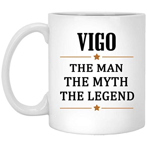 Taza de té Vigo grande The Man The Myth The Legend Taza de café - Regalos personalizados de mordaza de cumpleaños Taza para Vigo Regalo perfecto Tazas de café Cerámica blanca 11 oz