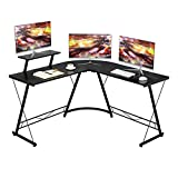 <span class='highlight'><span class='highlight'>Aingoo</span></span> Corner Desk L Shaped Desk Computer Desk Office Desk L Shaped Office Desk Writing Workstation with Large Monitor Stand Large PC Desks for Home & Gaming,Easy to Assemble,128.5*128.5*75cm Black