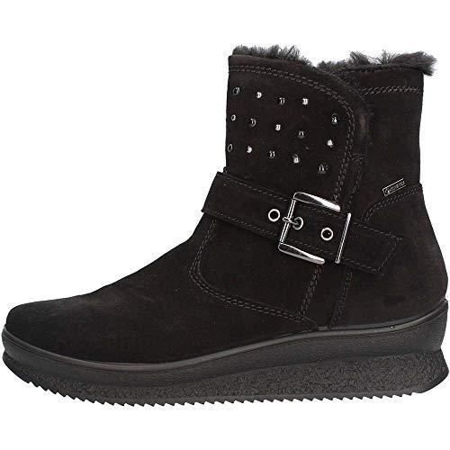 IGI&CO Botas con cuña para mujer, ante con tachuelas, color negro Negro Size: 38 EU (Ropa)