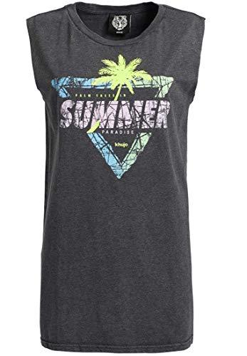 khujo Damen Top Azure Triangle aus Reiner Baumwolle im 80's Look mit großem Print Langer Schnitt
