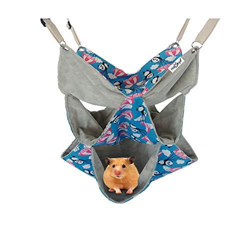 Pet Small Animal Hanging Hammock, HOMEYA Triple Layer Hammock Tunnel Bed Toy for Ferret Guinea-Pig Hamster Rat Chinchilla Parrot Squirrel Gerbil Dwarf Bird Sleep Nap Sack Hideout Cage Swinging Bedding