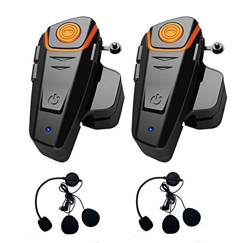BT-S2 Bluetooth Motocicleta Intercom Auriculares Casco a Prueba de Agua Intercomunicador Sistema de intercomunicación inalámbrico con 1000 m, Radio FM, Reproductor de MP3, GPS(Cable Duro,2 Pieza)